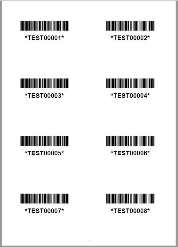 Planche étiquettes code à barres