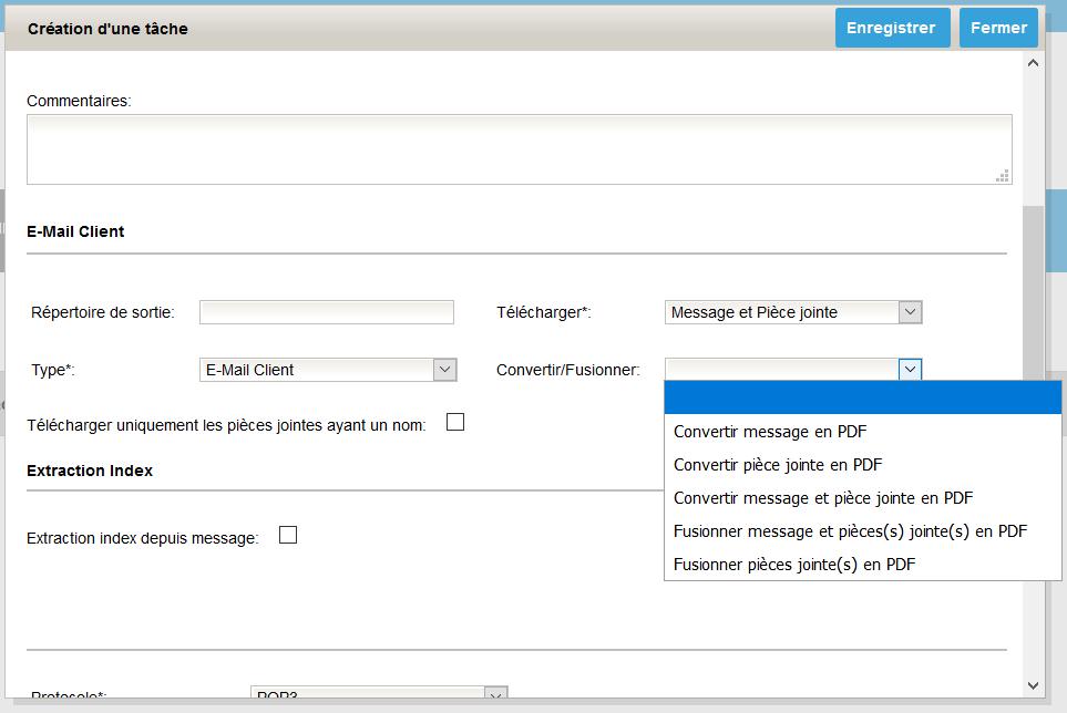 Options conversion et fusion des mails