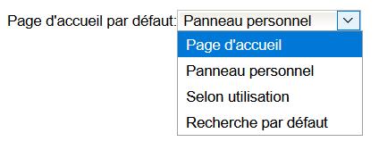 choix page accueil par défaut