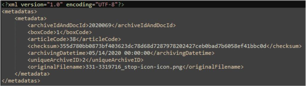 métadonnées xml document numérique coffre