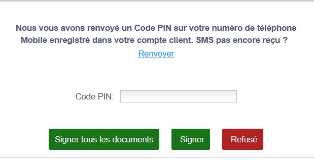 Signature électronique saisie code pin